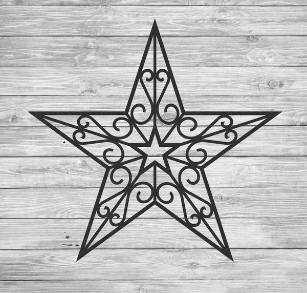Large Wrought Iron Inspired Wall Hanging Star With Scrolls