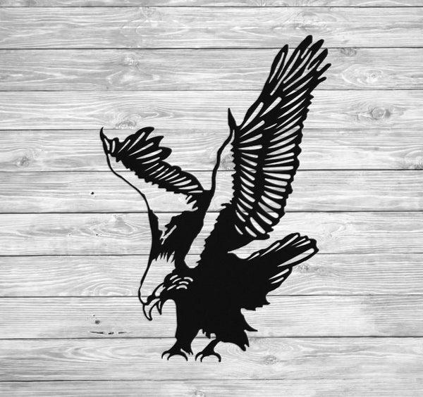 American Bald Eagle Wall Hanging Art Metal Silhouette for Indoor or Outdoor Use - Sam's Metal Works - 1