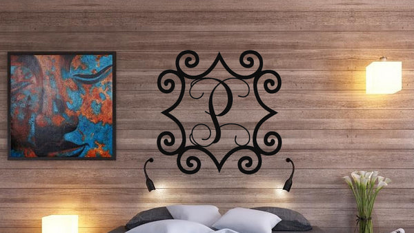 Wrought Iron Inspired Metal Wall Art With Monogram Initial