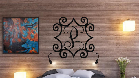 "Large 32"" to 48"" Wrought Iron Inspired Wall Art with Monogram Initial For Indoor/Outdoor Use - Sam's Metal Works - 1"