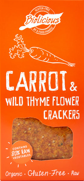 Biolicious Dehydrated Organic Raw Vegetable Crackers: Carrot & Wild Thyme Flower 104g
