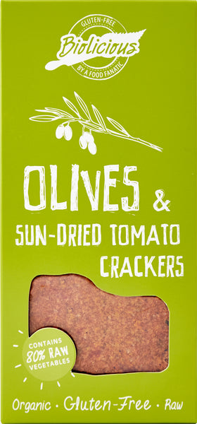 Biolicious Dehydrated Organic Raw Vegetable Crackers: Olives & Sun-Dried Tomato 104g