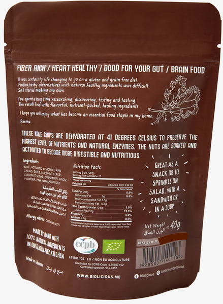 Biolicious Dehydrated Organic Raw Kale Chips: Raw Cacao, Almonds & Coconut 40g