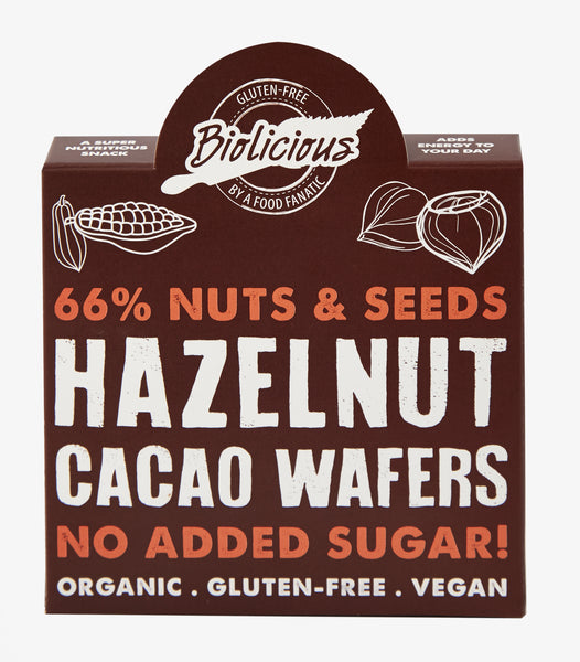 Biolicious Dehydrated Organic Raw Hazelnut Cacao Wafers 40g