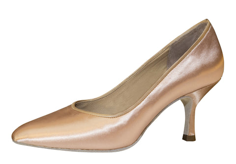 "040 | Beige Natural Leather | 21.5cm | 2.5"" Slim Heel - Shop4Dancer"