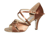 "064 Maria |  Tan Satin | 3"" Flared 