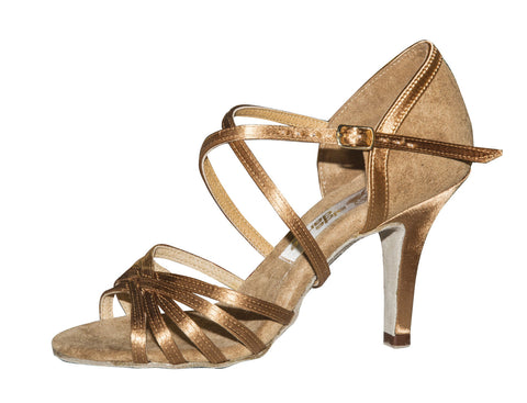 "072 Asta   | Bronze Satin Beige Suede | 25cm | 3.2"" Slim Heel 