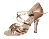 080S Kuzminskaya  | Tan Satin -  Gold Leather - Shop4Dancer