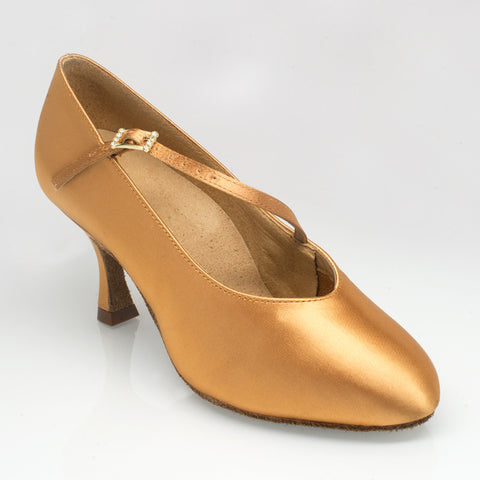 "116A Rockslide | Flesh Satin | 2"" Flared  Heel 