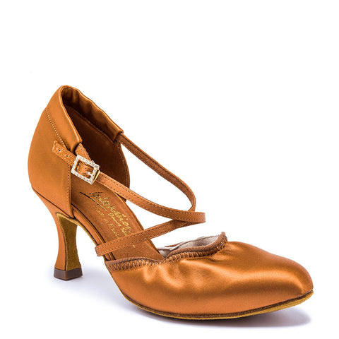 "AMERICAN FLEX - TAN SATIN - 5.5UK - 2"" Heel"