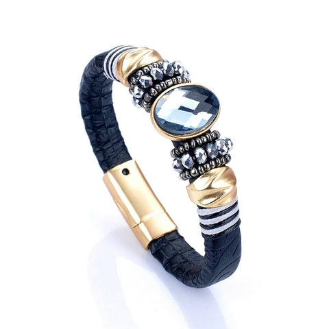 Brand Magnet Buckle Claps Leather Bracelet Gold Plated Crystal Beads Fashion Bracelets For Women