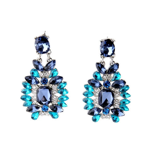 Rhodium Royal Blue Rhinestone Statement Earring Latest Spring Imitated Jewelry - Shop4Dancer
