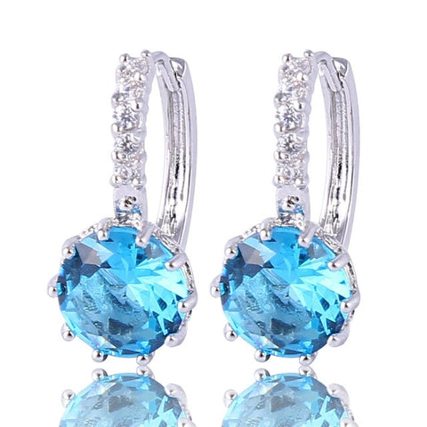 Fashion 18k White Gold Plated Lovely Famous Brand Jewelry Hoop Earings - Shop4Dancer