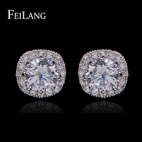 Fashion Jewelry Round AAA+ Cubic Zirconia Diamond Stud Earring For Women - Shop4Dancer