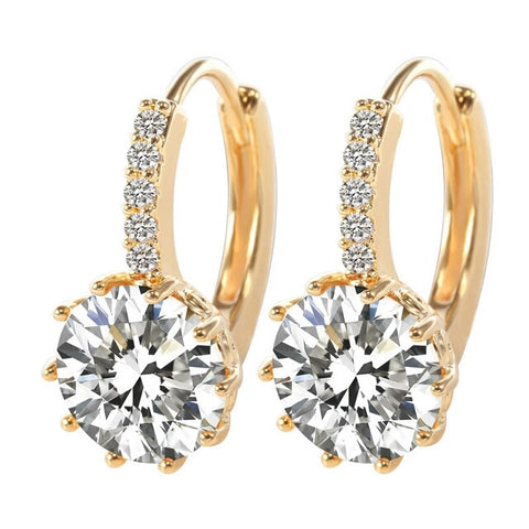 Woman Real 18K White Gold Filled AAA Cubic Zircon Hoop Earrings 2015 Fashion Gold Earrings for Goldfilled Jewelry - Shop4Dancer