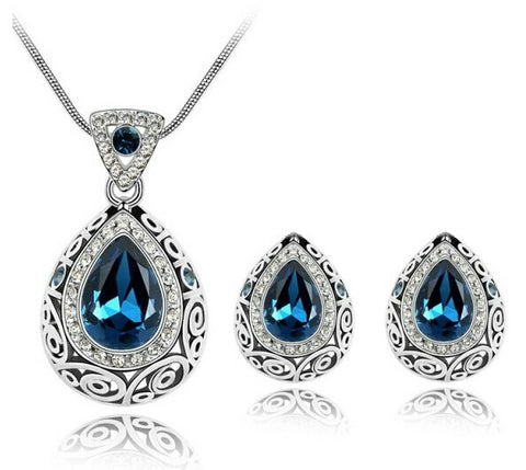 Crystal Accessories Earrings Necklace Jewelry Sets with 18KSilver Plated