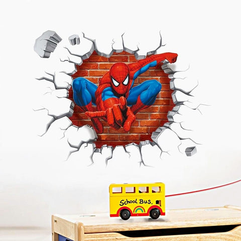 3d Spiderman wall stickers for kids rooms decals home decor personalized Kids Nursery Wall sticker decoration - Shop4Dancer
