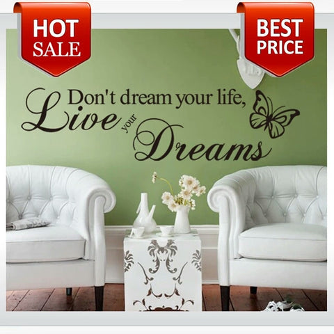 Word Live Your Dream Butterfly Quote Room Decor home decor Art Removable Decal Wall Sticker - Shop4Dancer