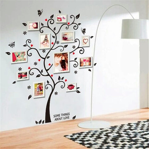 Black tree photo frame diy 3d vinyl wall stickers removable wall sticker design living room home