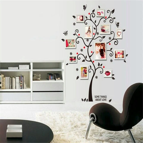 ... Black Tree Photo Frame DIY 3D Vinyl Wall Stickers Removable Wall  Sticker Design Living Room Home