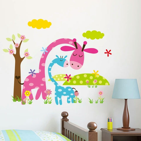 cartoon animal forest wall stickers decals for nursery and kids room home decor 3d wall stickers - Room Decor 3d