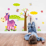 Cartoon Animal Forest Wall Stickers decals for Nursery and kids room Home decor 3d Wall Stickers For Kids Room home decorations - Shop4Dancer