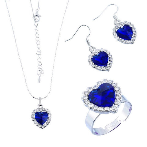 1Set Romantic Heart Royal Blue Crystal Rhinestone Pave Setting Jewelry Drop Earrings & Necklace & Ring