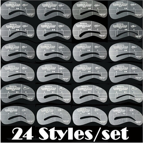 24pcs/set Grooming Stencil MakeUp Shaping DIY Beauty Eyebrow Template Stencils Make up Tools Accessories
