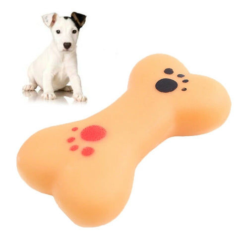 Mini Lovely Pet Dog Puppy Cat Chewing Chew Toys Soft Rubber Bone Squeaker Squeaky Sound Play Toy Orange - Shop4Dancer