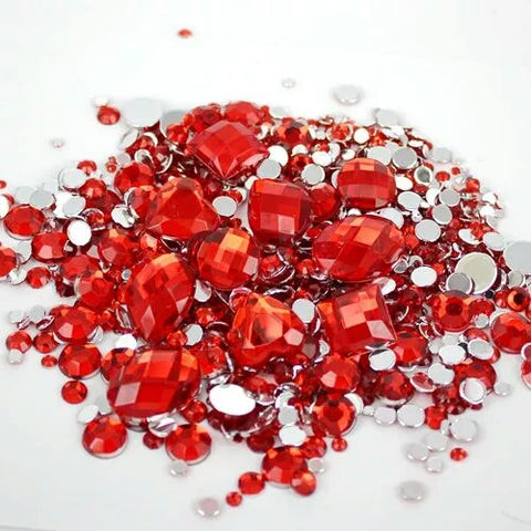 Rhinestones Mix Sizes Red Color | Non-Hotfix - Shop4Dancer