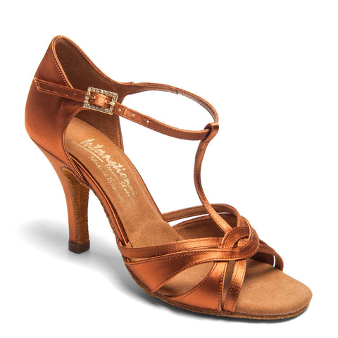 "MIA T-BAR - TAN SATIN - 2.5"" Elite Heel - Shop4Dancer"