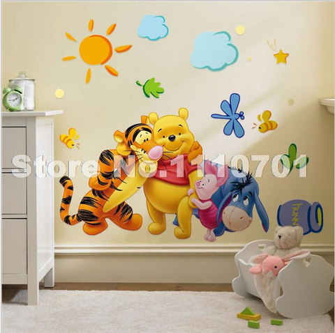 Pooh Tree Animal Cartoon Vinyl Wall Stickers For Kids Rooms Home Decor Shop4dancer