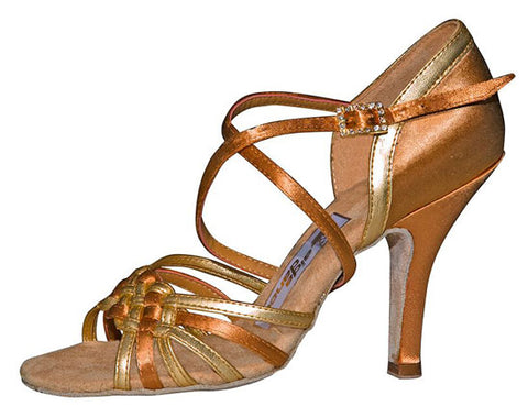"080 Kuzminskaya  | Tan Satin Gold Leather | 3"" Slim Heel 
