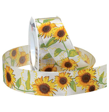 #063 Sunflowers (wired) Ribbon - ifloral.com