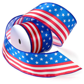 #2736 Stars and Stripes (wired) Ribbon - ifloral.com