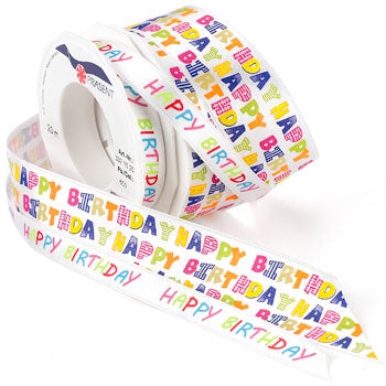 #337 Happy Birthday (satin) Ribbon - ifloral.com