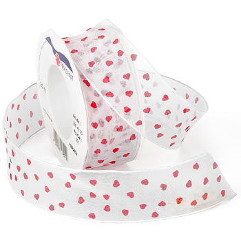 #350 Hearts (wired sheer) Ribbon - ifloral.com
