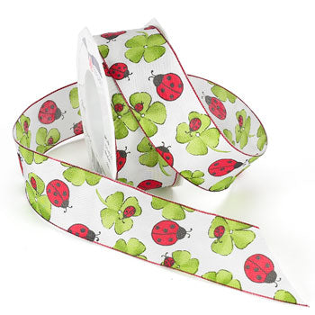 #579 Ladybug Luck (wired) Ribbon - ifloral.com