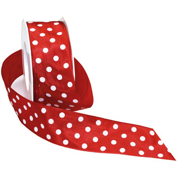 #598 Polka Dots (wired) Ribbon - ifloral.com