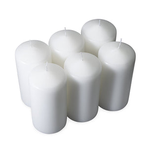 "3"" x 6"" Pillar Candles, White (Pack of 6) - ifloral.com"