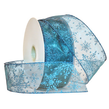 #7405 Snowflake (wired) Ribbon - ifloral.com
