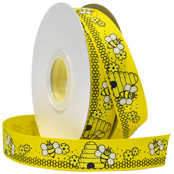 #7532 Glittered Grosgrain Bees Ribbon - ifloral.com