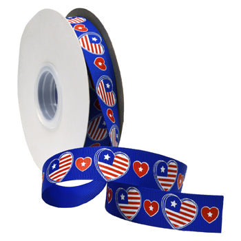 #7536 Patriotic Hearts (grosgrain) Ribbon - ifloral.com