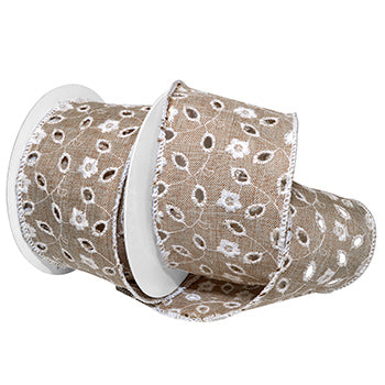 #7633 Eyelet Linen (wired) Ribbon - ifloral.com