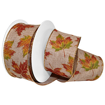 #7656 Autumn Leaves (wired) Ribbon - ifloral.com