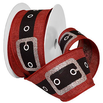 #7704 Santa's Belt (wired) Ribbon - ifloral.com