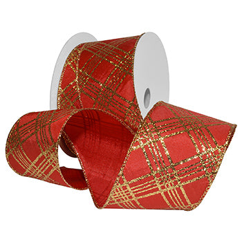 #7717 Glitter Plaid (wired) Ribbon - ifloral.com