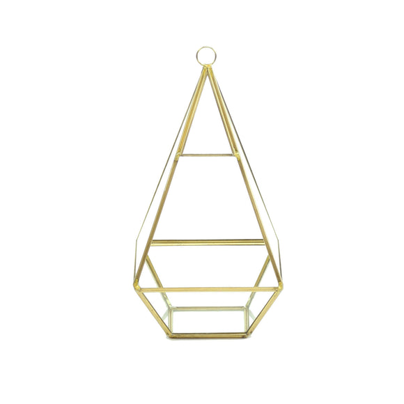 Geometric Glass Terrarium, Nonahedron Raised Tall Pyramid Shape, Rustic Gold Frame - Width: 5