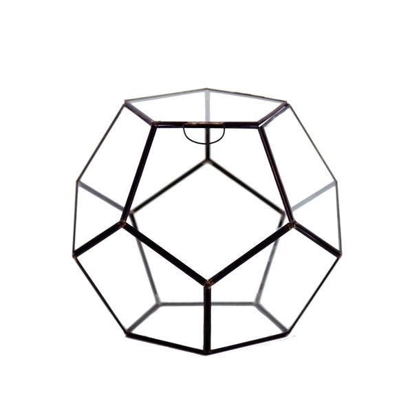 Geometric Glass Terrarium, Dodecahedron, Black Frame, One of the Facet Opens - Width: 9