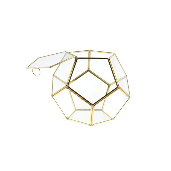 Geometric Glass Terrarium, Dodecahedron, Gold Frame, One of the Facet Opens - Width: 9